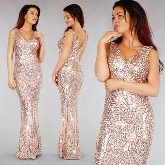 !XSALE Luxus Nude Sequin-Ballkleid