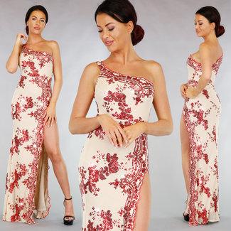 !XSALE Beige Red Gala-Kleid mit Pailletten und Split