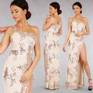 Beige Gala-Kleid mit Pailletten und Rosé © Split