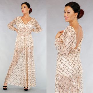 !OP=OP Langarm Nude See-Through-Kleid mit Pailletten