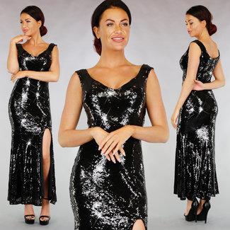 !XSALE Schwarze Pailletten Gala-Kleid mit Split