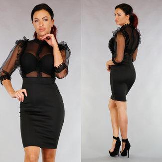 Sexy schwarzes Kleid Bodycon Mesh und Rüschen