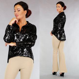 !OP=OP Schwarz Asymmetrische Sequin Cardigan