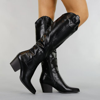 Basic Black-Leder-Blick-Cowboy-Stiefel mit Heel