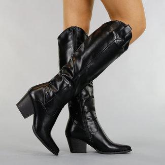 HOT Basic Black-Leder-Blick-Cowboy-Stiefel mit Heel