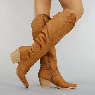 Kamel-Veloursleder-Optik Cowboystiefel mit Heel