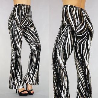 Black Glitter Striped Hose mit breiten Rohren