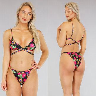 NEW2404 Blumen-Druck-Triangel-Bikini