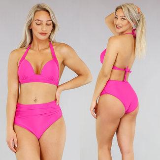 Rosa gefaltete hohe Taillen-Bikini