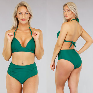 Grün Plissee mit hohen Taille Bikini