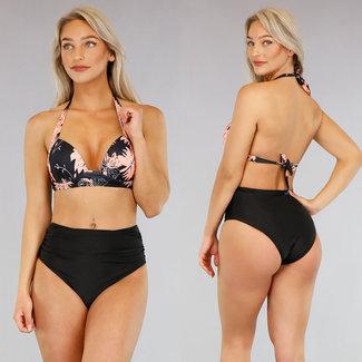 Blumen-Druck faltete hohe Taillen-Bikini