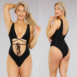 Sexy schwarzen Badeanzug mit Schleife