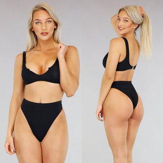 NEW2404 Schwarz mit hohen Taille Rib Bikini