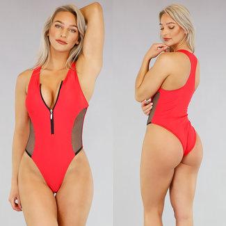 Red Sportlicher Badeanzug mit Reißverschluss