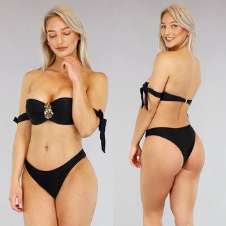 Schwarz Push-Up Bikini mit Bögen