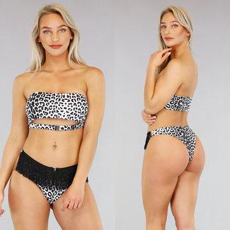 Weiß Leopard-Druck-Bikini mit Quasten