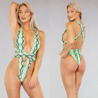 NEW2404 Sexy Green Snake Print-Badeanzug
