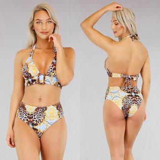 NEW2404 Bikini mit Verzierungen und Leopard-Druck