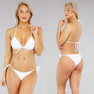 Basic Weiß Triangel-Bikini mit Push Up