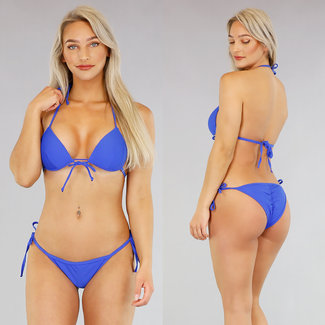 Basic Blue Triangel-Bikini mit Push Up