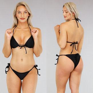 NEW2404 Basic Black Triangel-Bikini mit Push Up