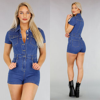 NEW2404 Blue Jeans, kurzer Overall mit Knöpfen