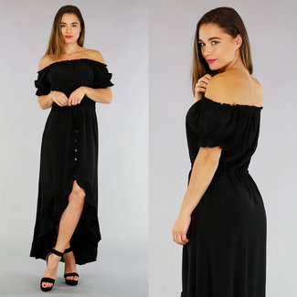 NEW2404 Schwarz Off-Shoulder-Kleid mit Knöpfen Mullet