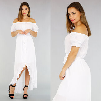 NEW2404 Weiß Off-Shoulder-Kleid mit Knöpfen Mullet