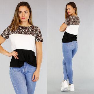 NEW2404 Gestreiftes T-Shirt mit Leopardenmuster
