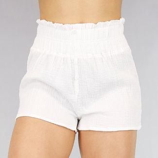 Bequemer Weiß Wrinkled Short