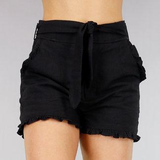 NEW2404 Schwarz High Waist Shorts mit Rüschen