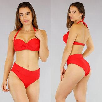 NEW2404 Rote Preformed hohe Taillen-Bikini