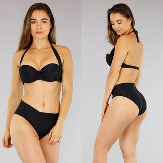 Schwarz Preformed hohe Taillen-Bikini