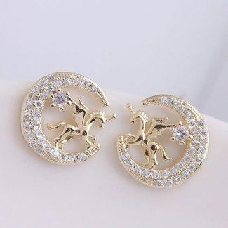 NEW2404 Goldene Ohrringe mit Unicorns