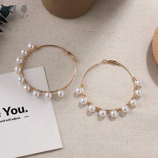 NEW2404 Goldene Ohrringe mit Perlen