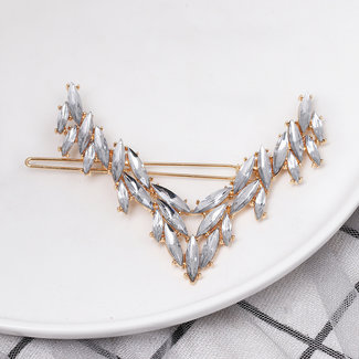 NEW2904 Golden Hair Clip mit Strass Oval
