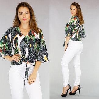 NEW2904 Dschungel-Druck-Bluse mit Knöpfen