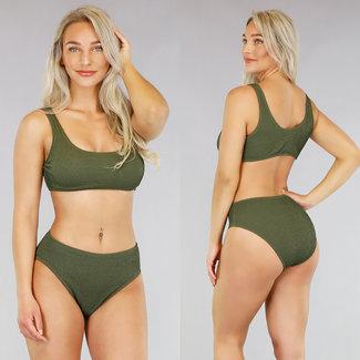 NEW0605 Grün mit hohen Taille Bikini mit Ripple