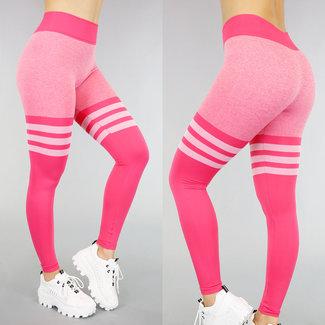 NEW0605 Sport Pink Tights mit Streifen
