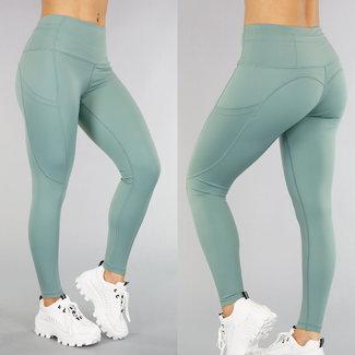 NEW0605 Grüner Sport Leggings mit Taschen
