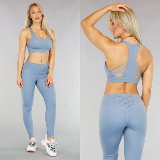 Blau Sport Legging mit Spitze