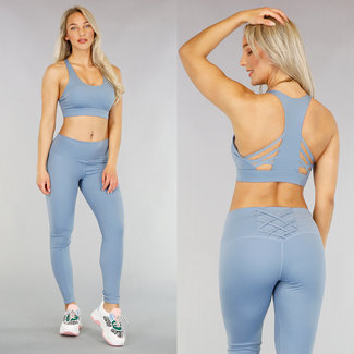 NEW0605 Blau Sport Legging mit Spitze