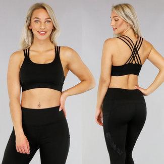 Schwarz Sport Top mit raffiniertem Rücken