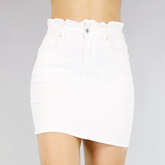 NEW0605 Weiß High Waist Jeans Rock paperbag