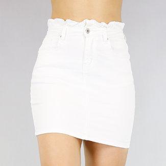 Weiß High Waist Jeans Rock paperbag