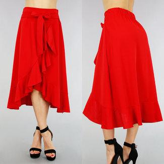 NEW0605 Roter Wickelrock mit Ruffels