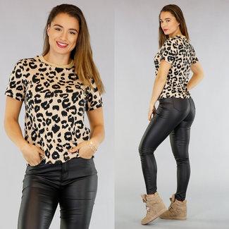 Beige Leopard-Druck-T-Shirt