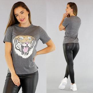 NEW1305 Grau-T-Shirt Tiger Impressum