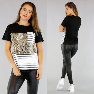NEW1305 T-Shirt Snake Print und Streifen-Muster