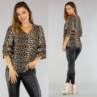 NEW1305 Loose-Fit Shirt mit Leopardenmuster